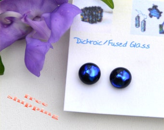 197 Fused dichroic glass earrings, round, shiny, dark blue
