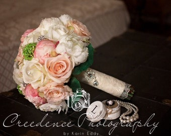 Reserved listing for........Kacie......Cottage Chic Silk Pink Peony Peach Rose Bridal Wedding Bouquet