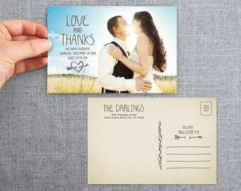 """50+ Wedding Thank you card, postcard, handwritten, natural, """"Isabells Heart"""""""