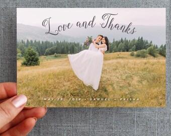 "50+ Wedding Thank you card, postcard, calligraphy script ""Prisha Style"""