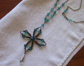 Reserved for Tameria  Bronze wire wrapped necklace with quartz and turquoise crystals.. vintage inspired