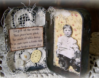 Altered Altoid Tin Assemblage Collage Altered Art Tin 3D Vintage Tin Case Childhood Collage Vintage Mixed Media Found Object Art Collage
