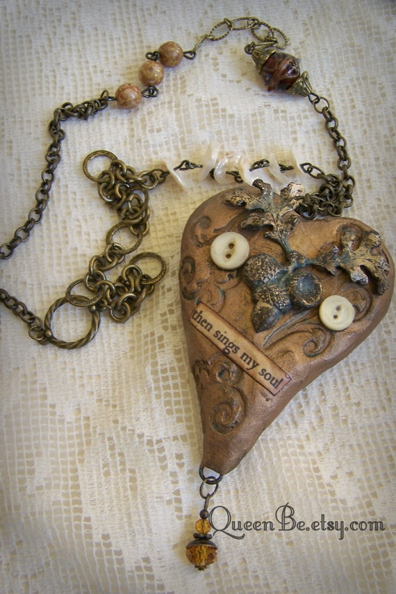 mixed media altered gypsy necklace altered necklace vintage