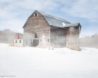 Snowy Winter Barn, Old Barn, Rustic Winter Farm Scene, Fine Art Photography Print, Signed Photograph