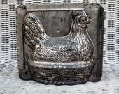 Antique Metal Chicken Chocolate Mold ~ 1930's