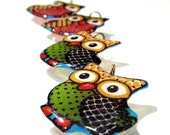 Patchwork Owl Charms Handmade Acrylic Resin Vintage Fabric Limited Edition Birds Aviary Owls Fowl Dangles Pendants Ready to Ship A3