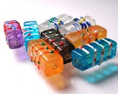 Vintage Painted Glass Rectangular Shaped Beads Rectangle Faux Lampwork Reclaimed Rescued A1