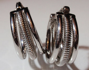 Vintage Bergere Triple Hoop Earrings Clip On Not Pierced Silver Tone From the 60's Glam Looks Like NewC1