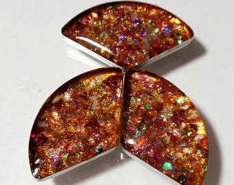 Faux Fire Opal Cabachons Reclaimed Recycled Geometric Shapes Circular Triangles Resin Vivid Coppers Acrylic Phone Case Decor Decoden  A2