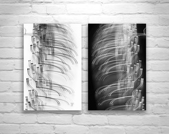 Modern Art, Black and White Abstract Art, Fine Art Photography, Diptych, Elegant Art, Contemporary Art, Vertical Art Print, Abstract Photo