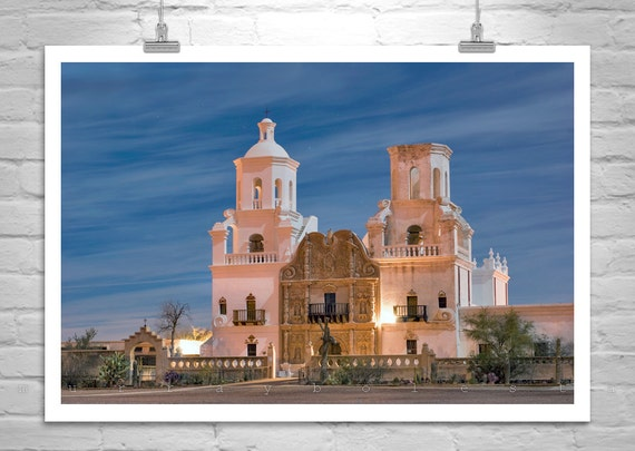 Tucson Arizona, Church Art, Architecture Art, Southwest Photography, San Xavier, Black and White, Spanish Mission
