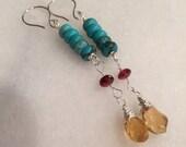 Turquoise, Garnet and Citrine Dangle Earrings   Sundance Style   Southwestern  Wedding Jewelry    Bohemian Jewelry