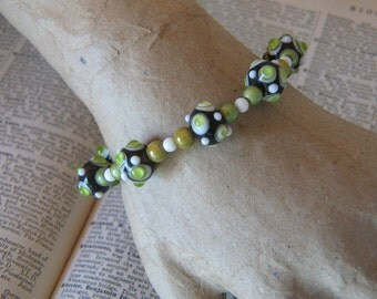 Bright Green, Black and White Glass Beaded Bracelet with Sterling Lobster Clasp