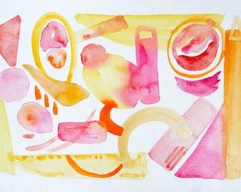 Pink Lemonade, Original watercolor painting