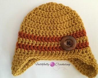 Newborn ear flaps hat.. Photo prop.. Ready to ship.. Fall beanie.. Newborn boy hat