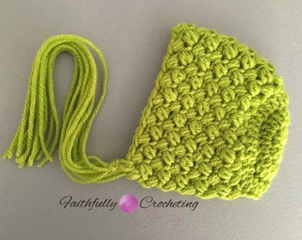 Newborn tectured bonnet.. Lime green hat.. Photography prop.. Ready to ship