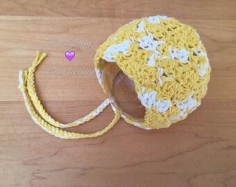 Newborn cotton bonnet.. Baby bonnet.. Photography prop.. Yellow bonnet.. Ready to ship
