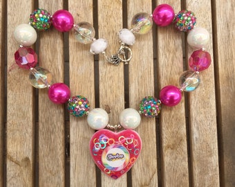 OOAK Shopkins colorful AB Chunky Necklace Rhinestone Pend, Chunky Bead Necklace, Bubblegum Necklace custom resin