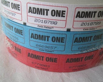 200 Tickets, Admit One Ticket, Colored Tickets, Admittance Ticket, Admission Tickets, Numbered Tickets, White Tickets, Blue Tickets