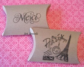 10 Gift Boxes, Gift Box, Paris Theme Party, Merci, Eiffel Tower, Kraft Boxes, Party Favor Box, Thank You Gift Box, Pillow Box 3.25x3x1