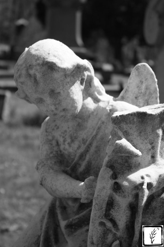 B&W Photograph, fine art, wall art, home decor, photo print, angel sculpture, cemetery, creepy, art, death, historic, haiku