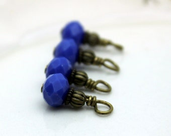 Royal Blue Faceted Rondelle Crystal and Brass Bead Dangle Drop Charm Set, Earring Dangle, Anime Charm, Girls Charm
