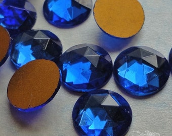 Vintage Cabochons - 13 mm Facet Sapphire Blue -  6 West German Faceted Glass Stones