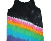 Tank Top in Black with Vibrant Rainbow Tie Dye- Womens Size XL and Ready to Ship