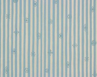 1960's Vintage Wallpaper Retro Blue White and Gold Metallic Stripe