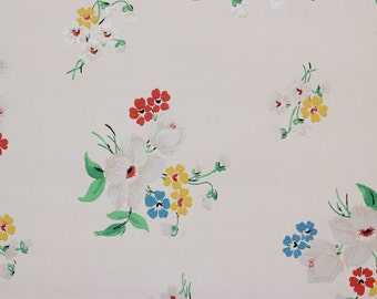1930's Vintage Wallpaper Bright Bouquets on White