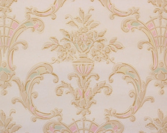 1930's Vintage Wallpaper Victorian Roses Pink Yellow Accents