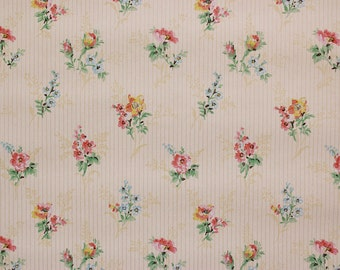 1930's Vintage Wallpaper Red Yellow and Blue Bouquets on Pin Stripe