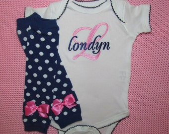 Baby Girl Clothes Newborn Leg Warmers and Bodysuit Personalized  Baby Shower Gift SetsEmbroidered Baby Girl Take Home Outfit Coming Home