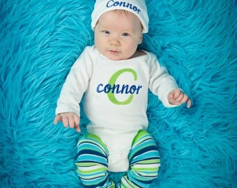 Personalized Baby Boy Coming Home Outfit Baby Boy Clothes Bodysuit Hat Newborn Leg Warmers Leggings Embroidered Baby Clothing Monogram