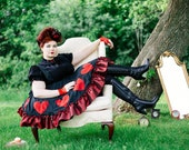 Plus Size Queen of Hearts Costume Dress - Steampunk Adult Halloween - Alice in Wonderland- Red Queen -Custom to your size