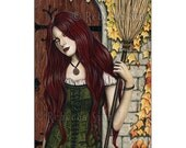 Season of the Witch ACEO print Gothic Autumn Halloween Art Artist Trading Cards ATC Fanasy Art Portrait