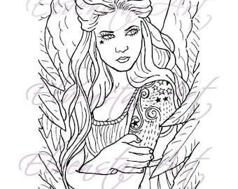 DIGI Stamp Printable Srapbooking Card Making Crafts Fantasy Gothic Angel tattoos Digital Stamp Download Coloring