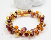 Murano Glass Jewelry // Amber Stretch Bracelet // Murano Glass // Lampwork Beads