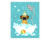 198D - Bath Art Prints -  Puggle in Bubble Bath Bathtub Wall Art - Puggle Drawing - Cute Puppy Print - Bathroom Decor - Puggle Print