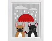 105D Dog Print - Two French Bulldogs with Red Umbrella Wall Art - Funny Dog Art - French Bulldog Wall Art - French Bulldog Print - Dog Gift