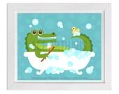 275 Bath Print - Alligator in Bubble Bath Wall Art - Alligator Print - Bath Room Decor - Bathroom Print - Bathroom Art - Alligator Nursery