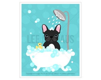 91D Bath Print - Black French Bulldog in Bubble Bath Wall Art - French Bulldog Print - Bathroom Wall Art - Bath Art - Dog Print - Dog Art
