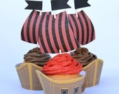 Pirate Ship Cupcake Wrappers and Toppers, set of 12~ Treasure, Boat, Pirate Birthday Party