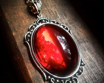 Red Pendant Necklace // Halloween Necklace // Vampire Necklace // Gothic Jewelry