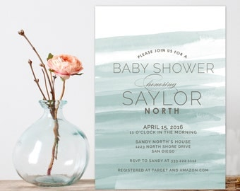 watercolor Baby Shower Invitation, Modern Baby Shower Invite, Baby Girl Baby Boy Shower Invitation, Printable custom shower invitation