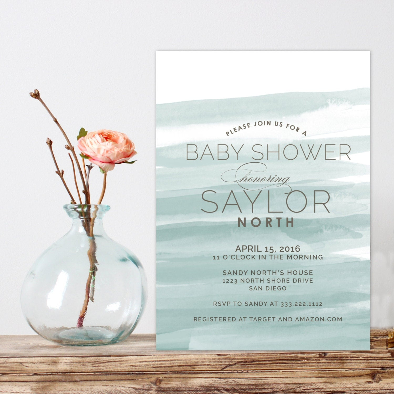 Modern Baby Shower Invitations: Watercolor Baby Shower Invitation Modern Baby Shower Invite
