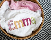 Monogrammed Baby Blanket in BOHO, Dusty Rose Dot Minky and White Chenille, Personalized with Your Baby Girl's First Name