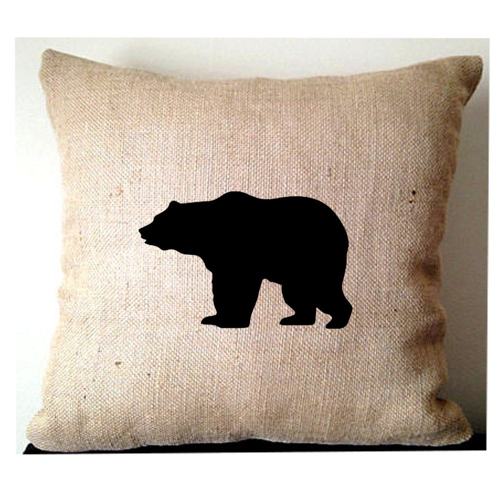 Burlap pillows bear burlap pillows rustic home decor for Decor pillows