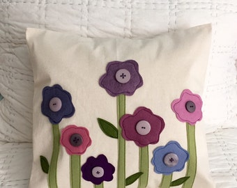 Purple Poppies Pillow Cover