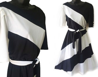 80s Black and White Stripe Puff Sleeve Dress with Tie Belt M L